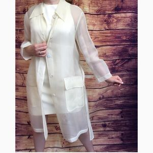 Tahari Sheer Cream Jacket & Sleeveless Dress Set